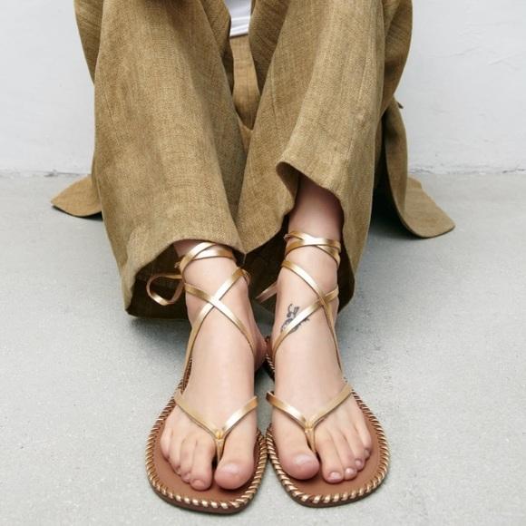 Zara topstiched leather sandals